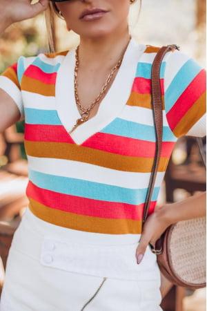 blusa decote v manga curta listrada ref: S2105